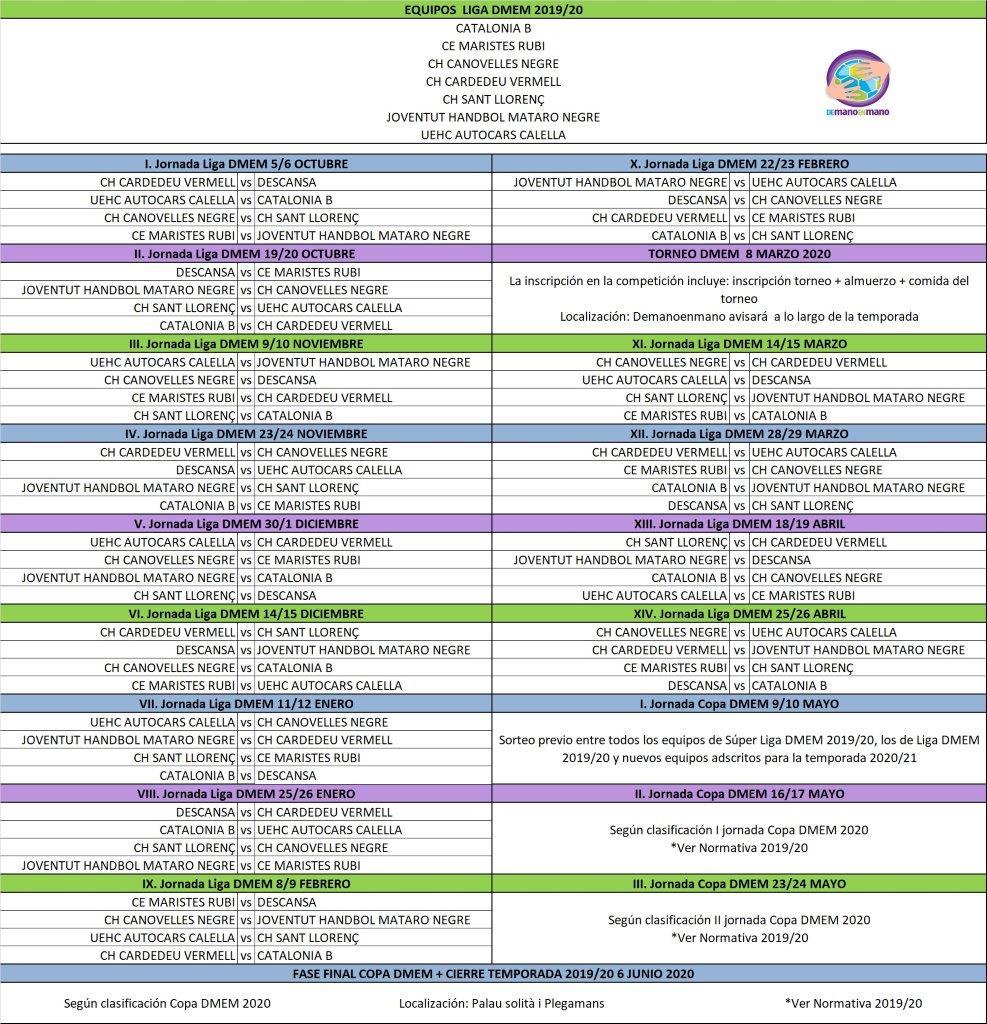 Calendario Liga Fundacion Demanoenmano 2019/20